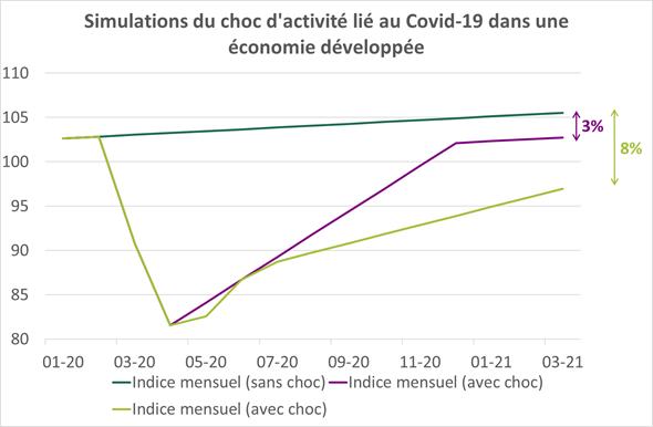Simulations du choc d'activité lié au Covid-19 dans une économie développée
